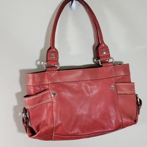Vintage Fossil Red Leather Satchel Silver Hardware